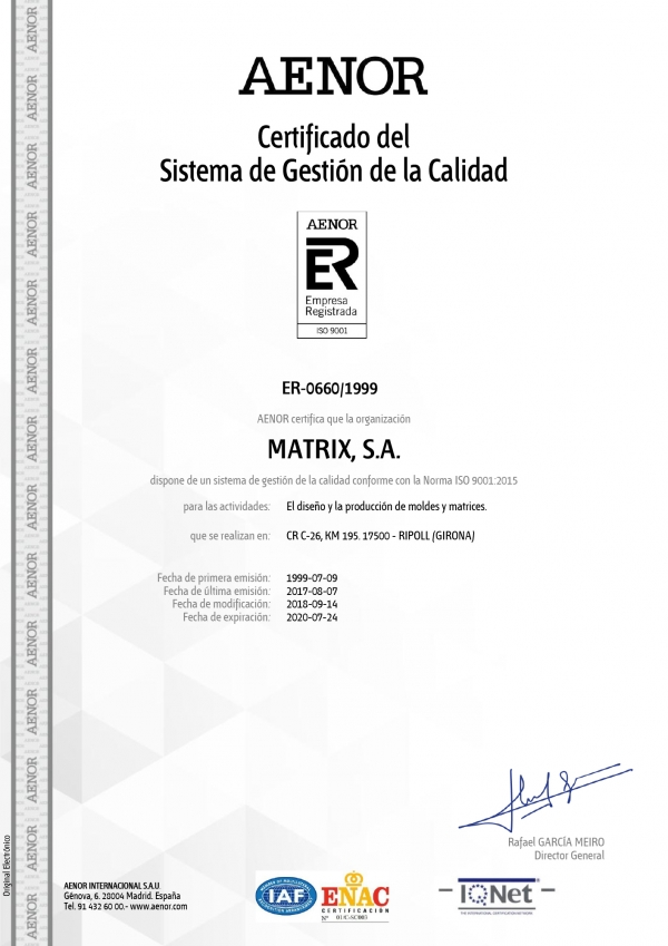 AENOR ISO 9001:2008 Matrix
