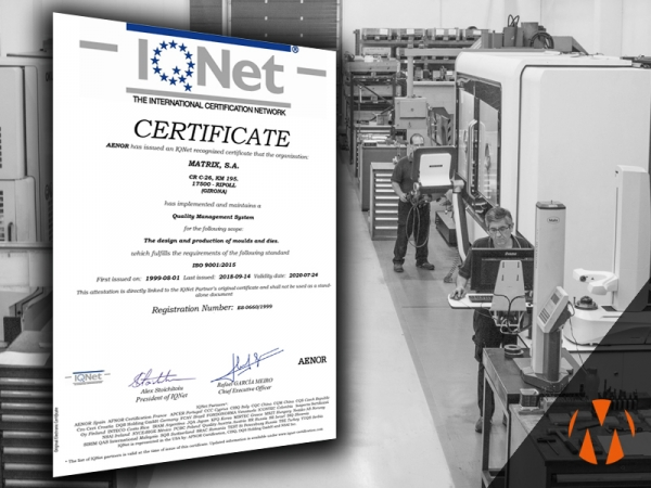 IQNet quality systems certificate for injection mould and dies production